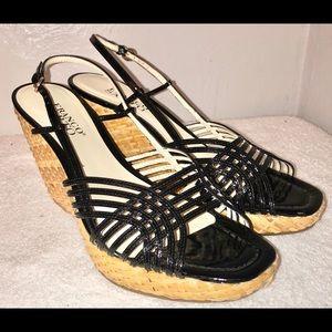 NWOB Franco Sarto Gita Wedge Leather Sandals 7.5